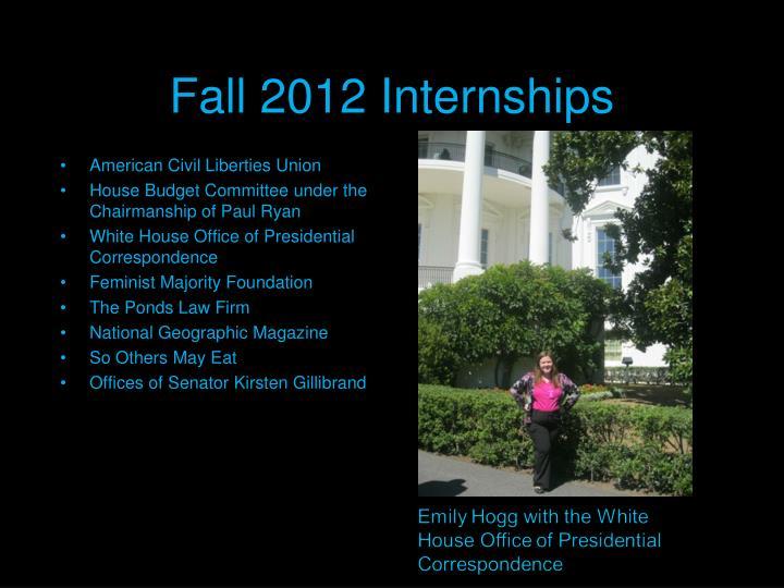 Fall 2012 Internships