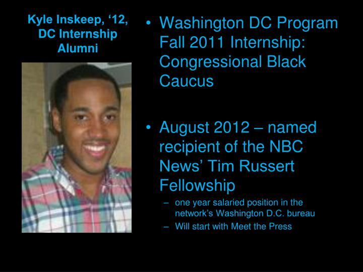 Kyle Inskeep, '12, DC Internship Alumni