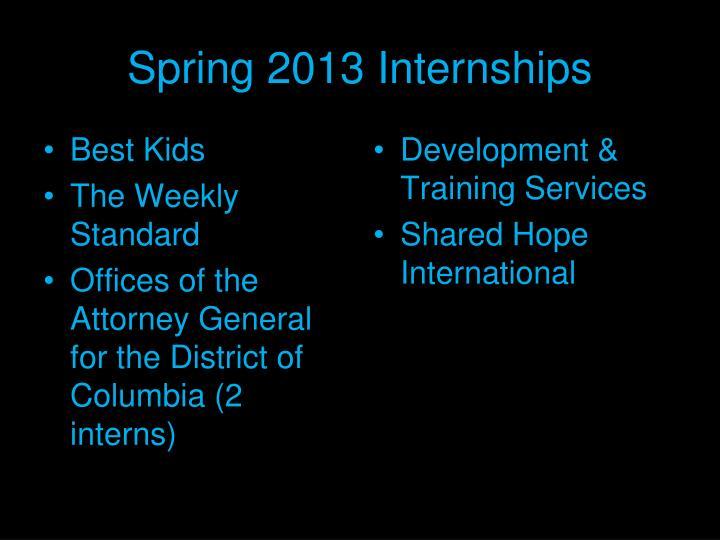 Spring 2013 Internships