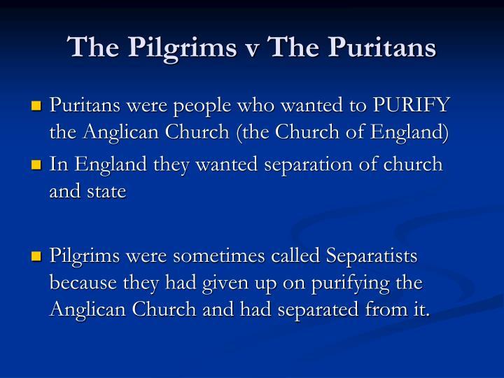 The pilgrims v the puritans