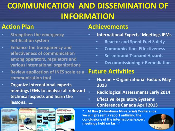 COMMUNICATION  AND DISSEMINATION OF INFORMATION