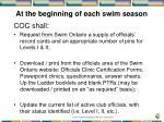 at the beginning of each swim season