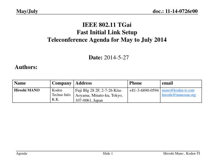 ieee 802 11 tgai fast initial link setup teleconference agenda for may to july 2014 n.