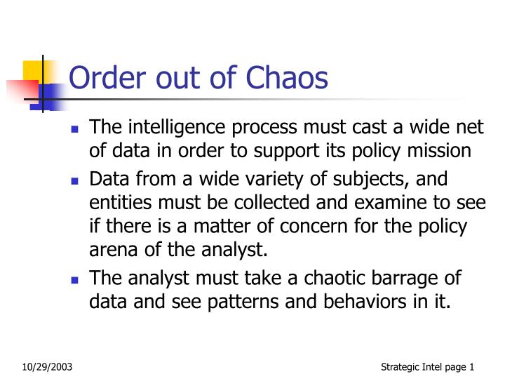 order out of chaos n.