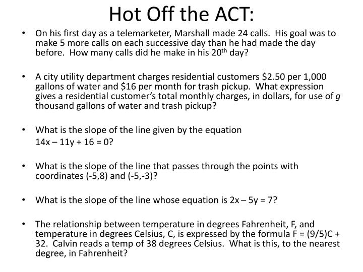 Hot Off the ACT: