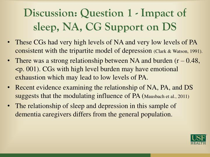 Discussion: Question 1 - Impact of sleep, NA, CG Support on DS