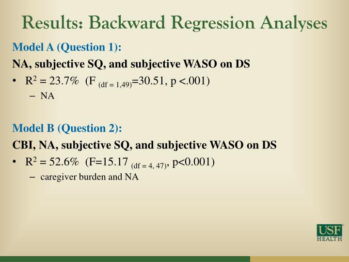 Results: Backward Regression Analyses