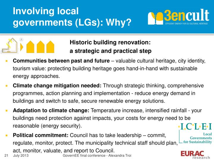 Involving local governments (LGs): Why?