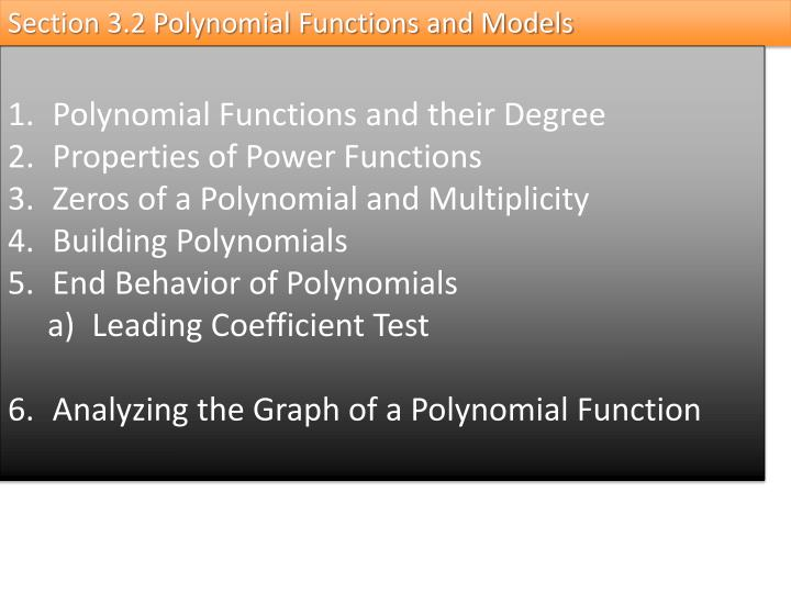 Section 3.2 Polynomial Functions and Models
