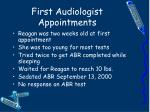 first audiologist appointments