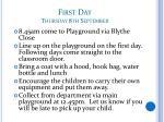 first day thursday 8th september