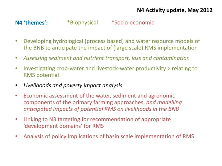 N4 activity update may 20122