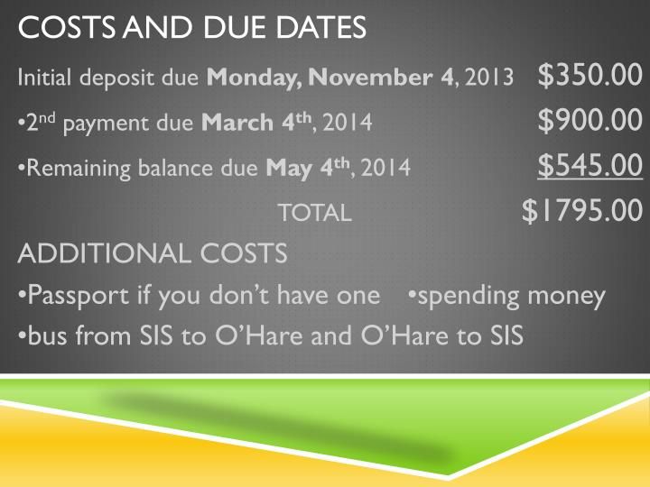 Costs and Due dates