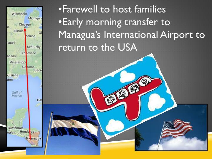 •Farewell to host families