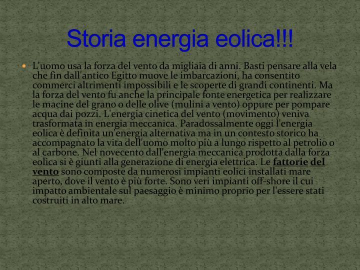 Storia energia eolica!!!