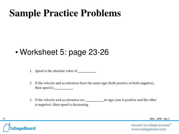 Sample Practice Problems