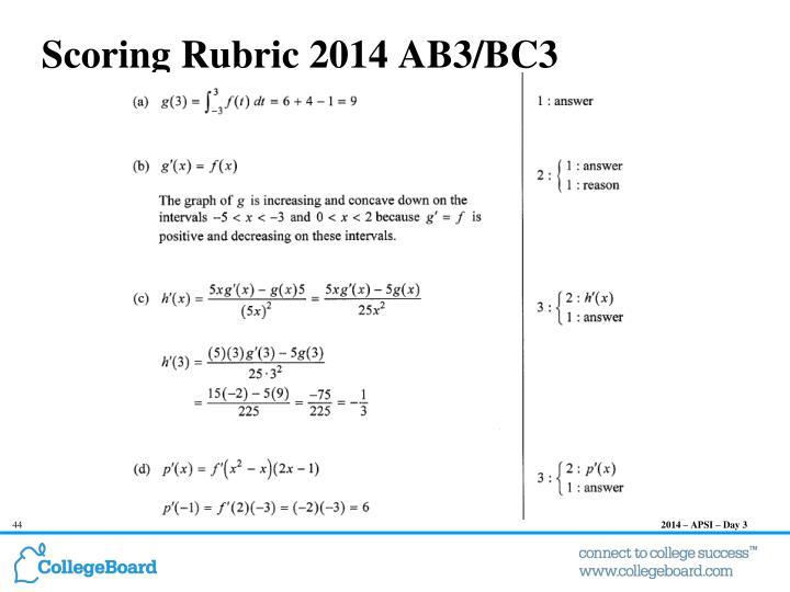 Scoring Rubric 2014 AB3/BC3