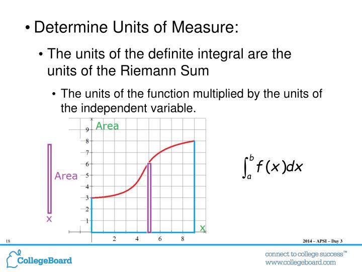 Determine Units of Measure:
