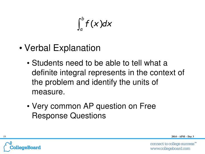 Verbal Explanation