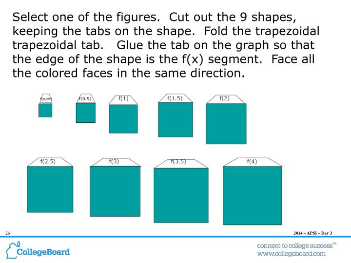 Select one of the figures.  Cut out the 9 shapes, keeping the tabs on the shape.  Fold the trapezoidal