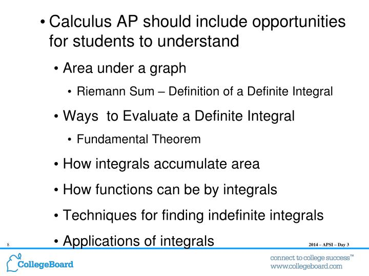 Calculus AP should include opportunities for students to understand