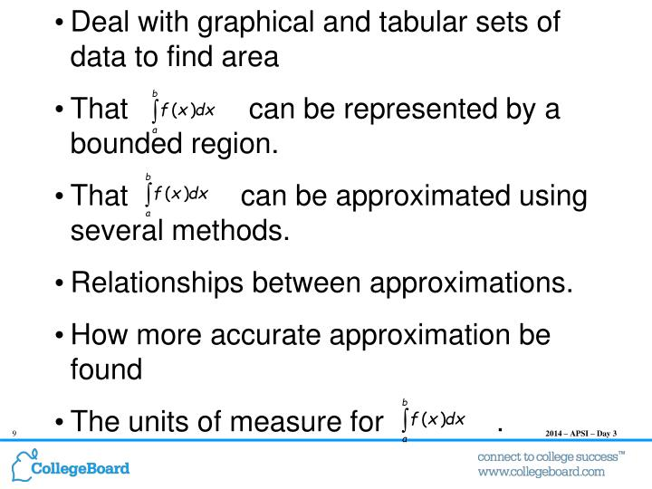 Deal with graphical and tabular sets of data to find area