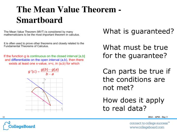 The Mean Value Theorem -
