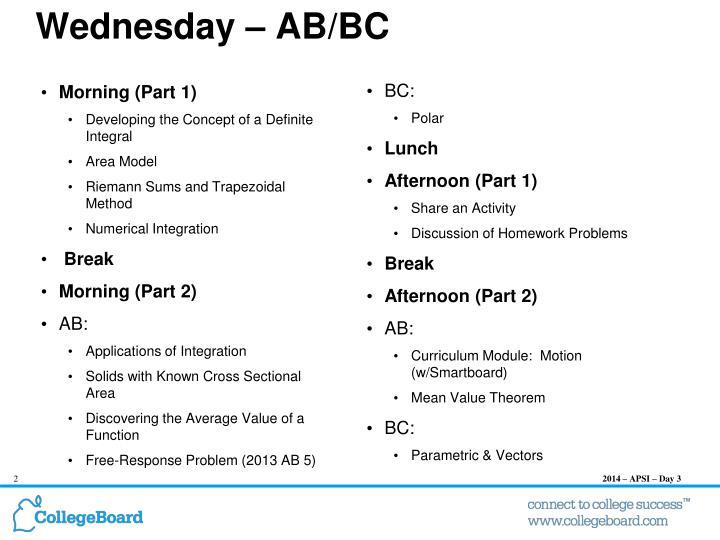 Wednesday ab bc