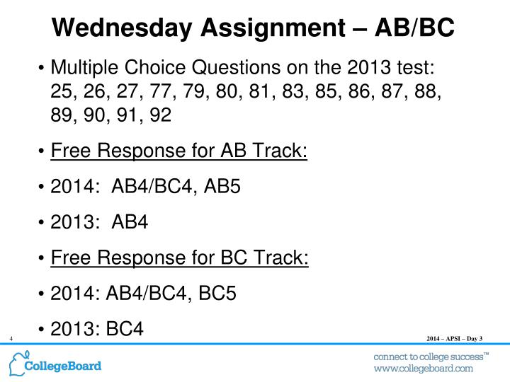 Wednesday Assignment – AB/BC