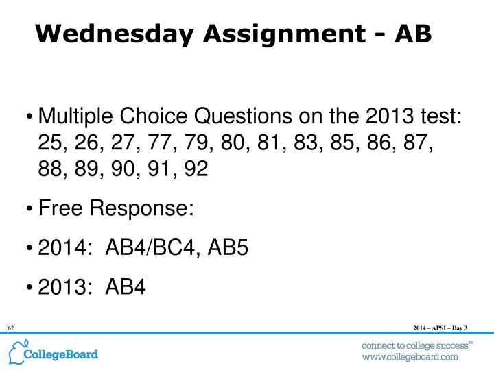 Wednesday Assignment -