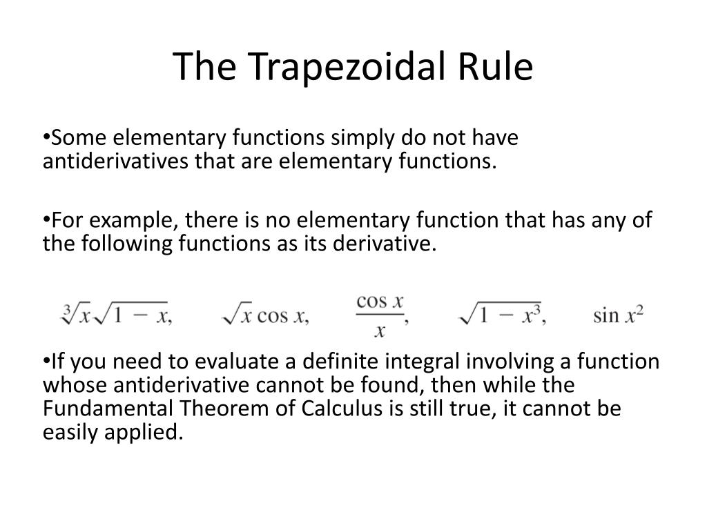 Trapezoidal rule examples with solutions.