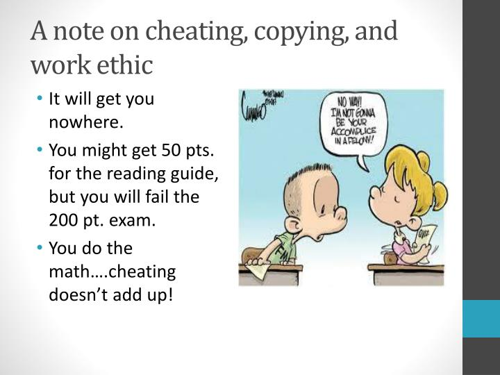 A note on cheating, copying, and work ethic