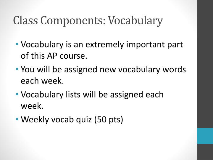 Class Components: Vocabulary