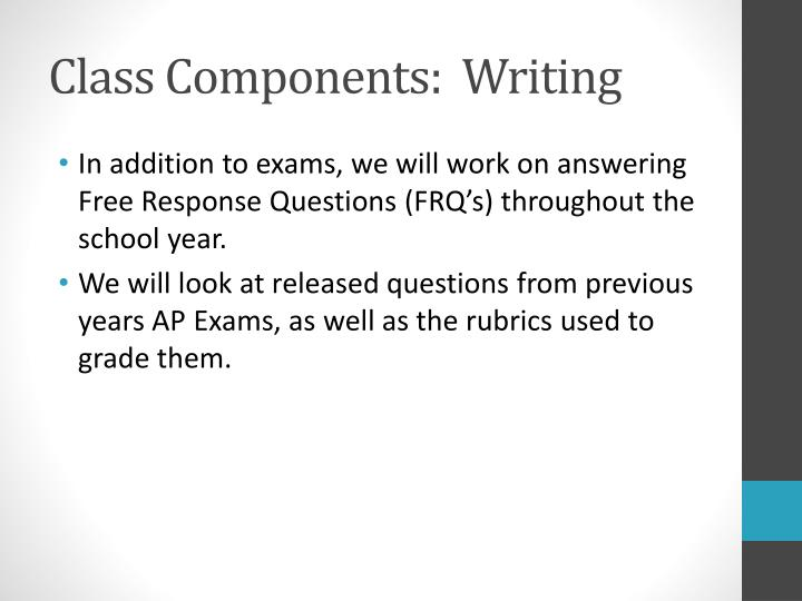 Class Components:  Writing