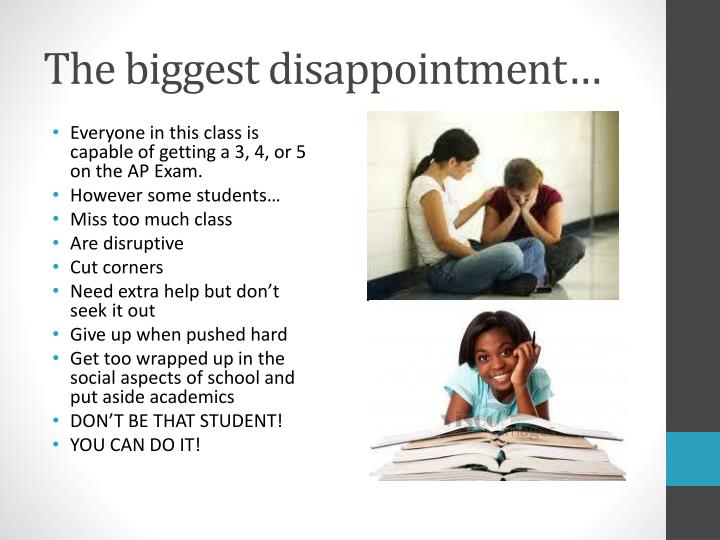 The biggest disappointment…