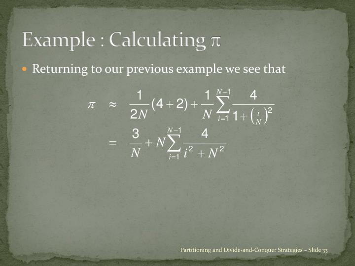 Example : Calculating