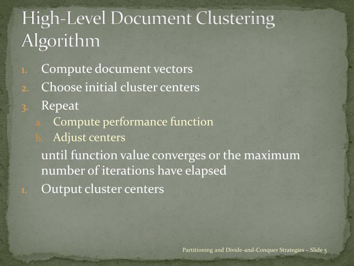 High-Level Document Clustering Algorithm