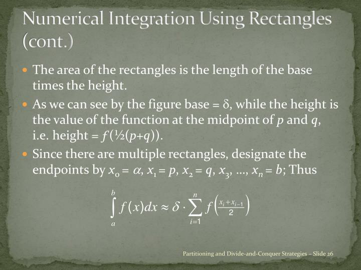 Numerical Integration Using Rectangles (cont.)