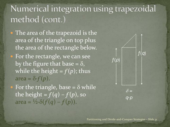 Numerical integration using trapezoidal method (cont.)