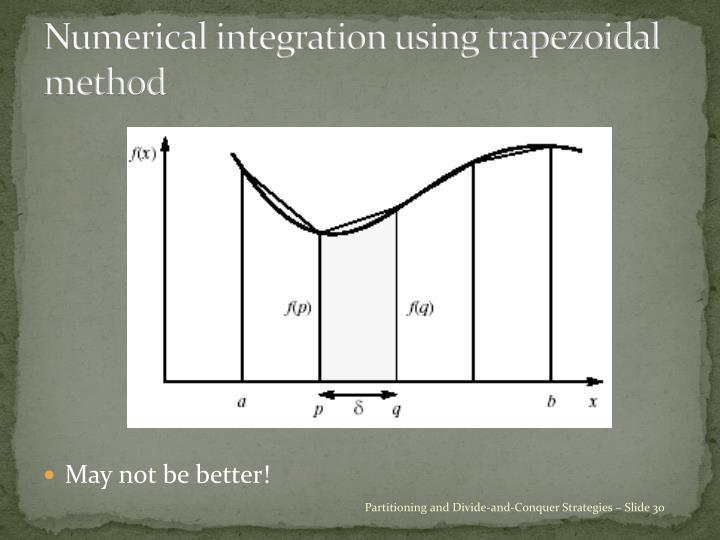 Numerical integration using trapezoidal method