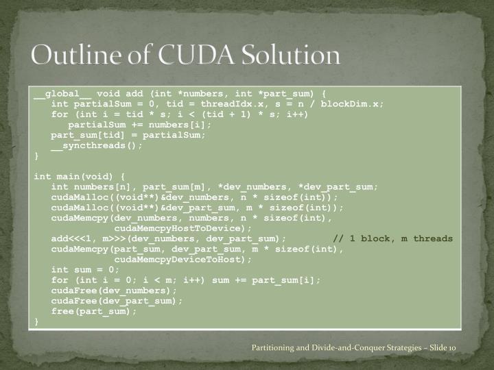 Outline of CUDA Solution