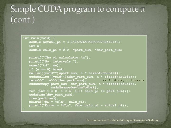 Simple CUDA program to compute