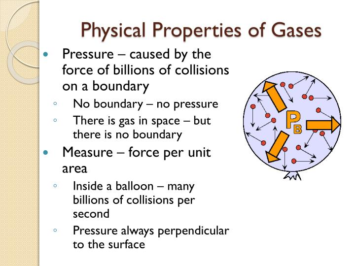 "experiment properties of gasses Gases: properties and behaviour gas laws partial pressures kinetic theory and ideal gases  physical properties of gases were among the first experiments performed in the ""modern"" scientific era,  the properties of gases can be described by a."