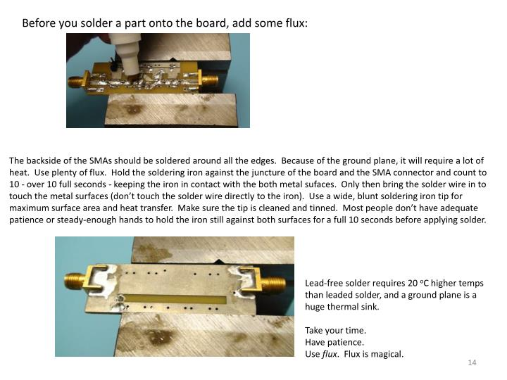 Before you solder a part onto the board, add some flux: