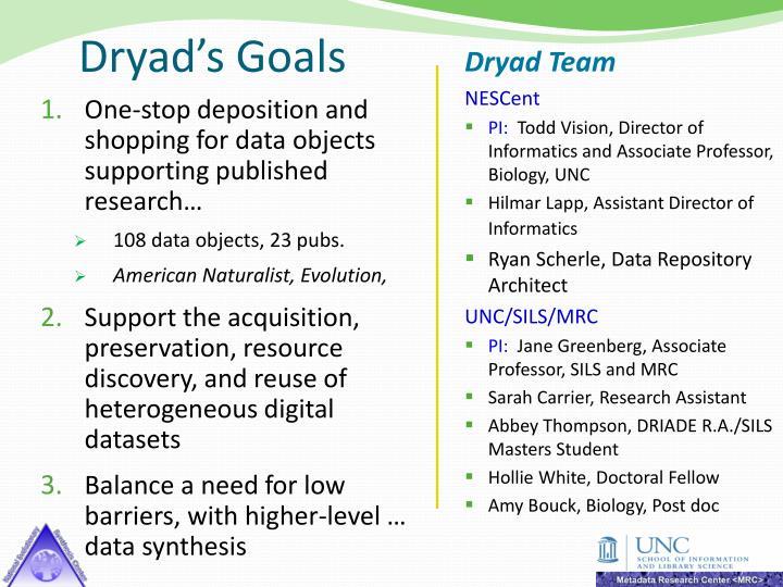 Dryad's Goals
