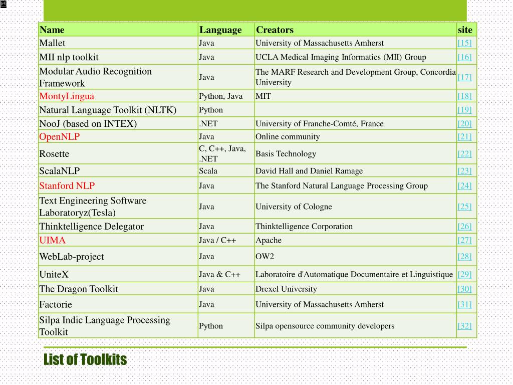 PPT - NLP Tools PowerPoint Presentation - ID:2419080