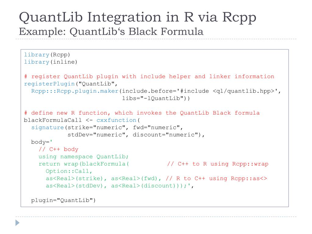PPT - R/QuantLib Integration PowerPoint Presentation - ID