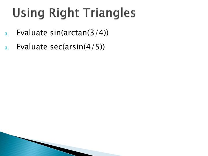 Using Right Triangles