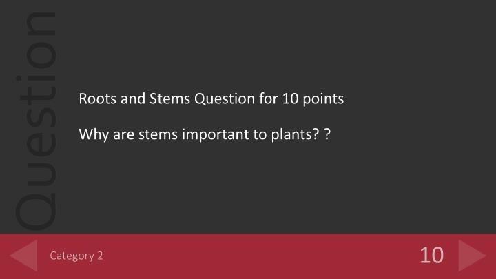 Roots and Stems Question for 10 points