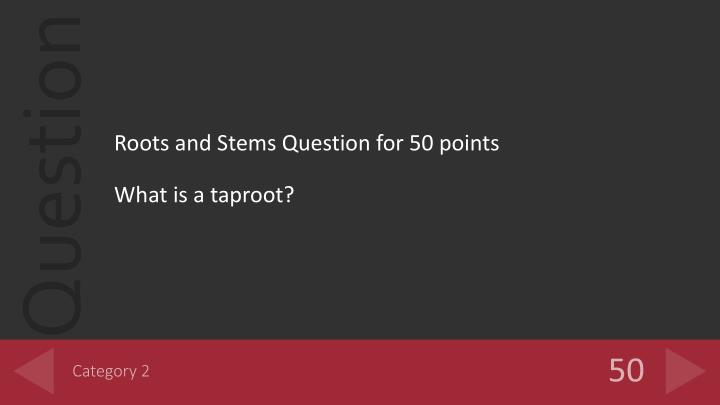 Roots and Stems Question for 50 points